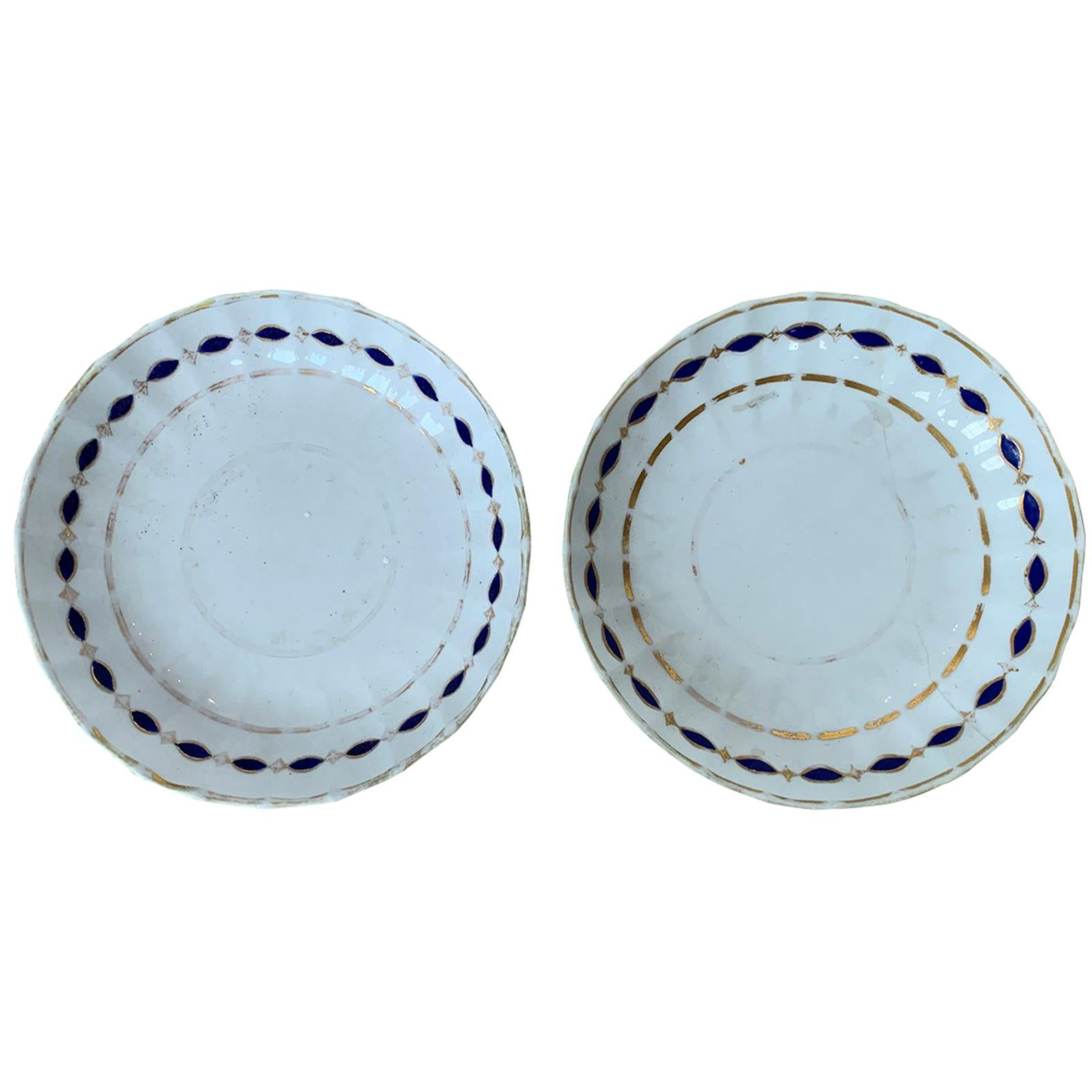 Pair of Late 18th-Early 19th Century English Royal Crown Derby Plates, Puce Mark