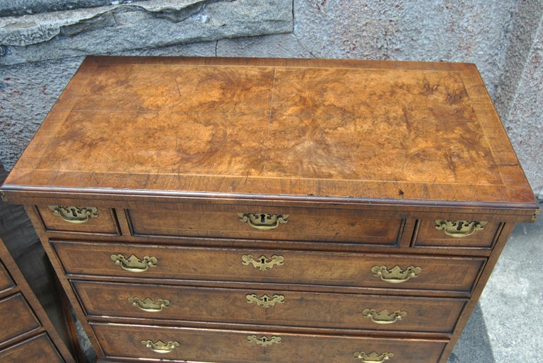 George III Pair of Late 18th-Early 19th Century English Walnut Bachelor's Chests For Sale
