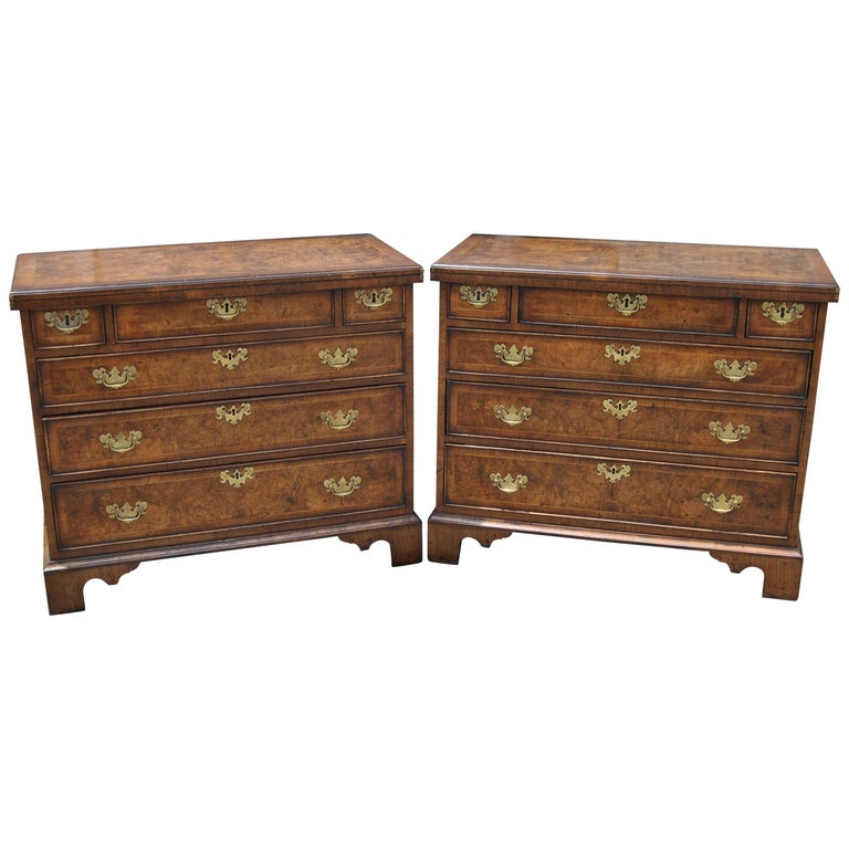Pair of Late 18th-Early 19th Century English Walnut Bachelor's Chests For Sale