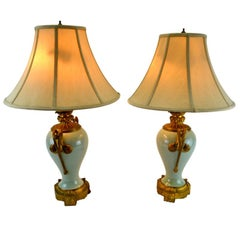 Pair of Late 19 Century Gilt Bronze-Mounted Chinese Celadon Vase Lamps