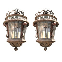 Pair of Late 19th and Early 20th Century Continental Iron Lanterns