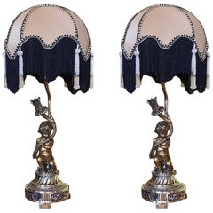 Pair of Late 19th Century French Gilt Bronze Table Lamps