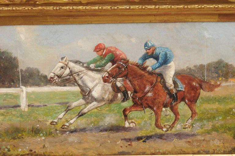 Pair of Late 19th Century American Oil Horse Racing Paintings in Giltwood Frames For Sale 6