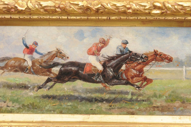 Pair of Late 19th Century American Oil Horse Racing Paintings in Giltwood Frames For Sale 7