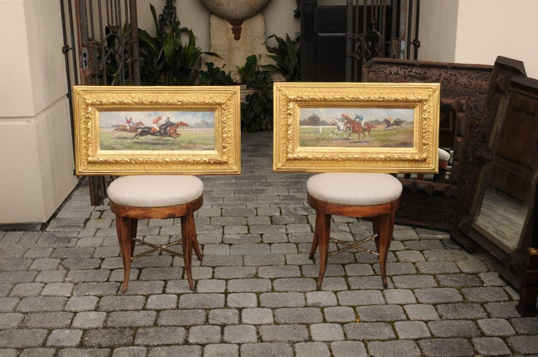 Pair of Late 19th Century American Oil Horse Racing Paintings in Giltwood Frames For Sale 10