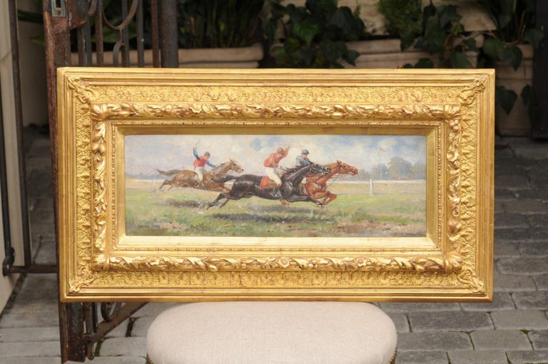 Pair of Late 19th Century American Oil Horse Racing Paintings in Giltwood Frames For Sale 11