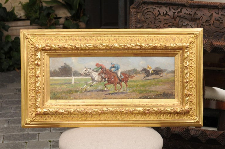 Pair of Late 19th Century American Oil Horse Racing Paintings in Giltwood Frames For Sale 12