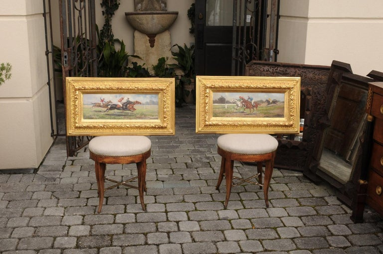 Pair of Late 19th Century American Oil Horse Racing Paintings in Giltwood Frames For Sale 13
