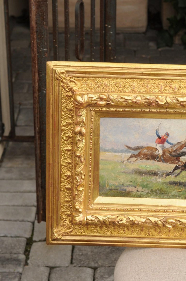 Pair of Late 19th Century American Oil Horse Racing Paintings in Giltwood Frames For Sale 14