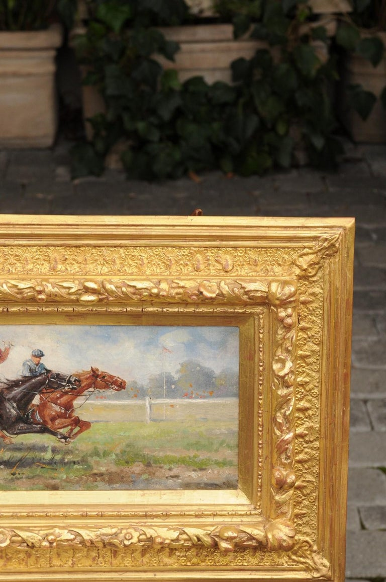 Carved Pair of Late 19th Century American Oil Horse Racing Paintings in Giltwood Frames For Sale