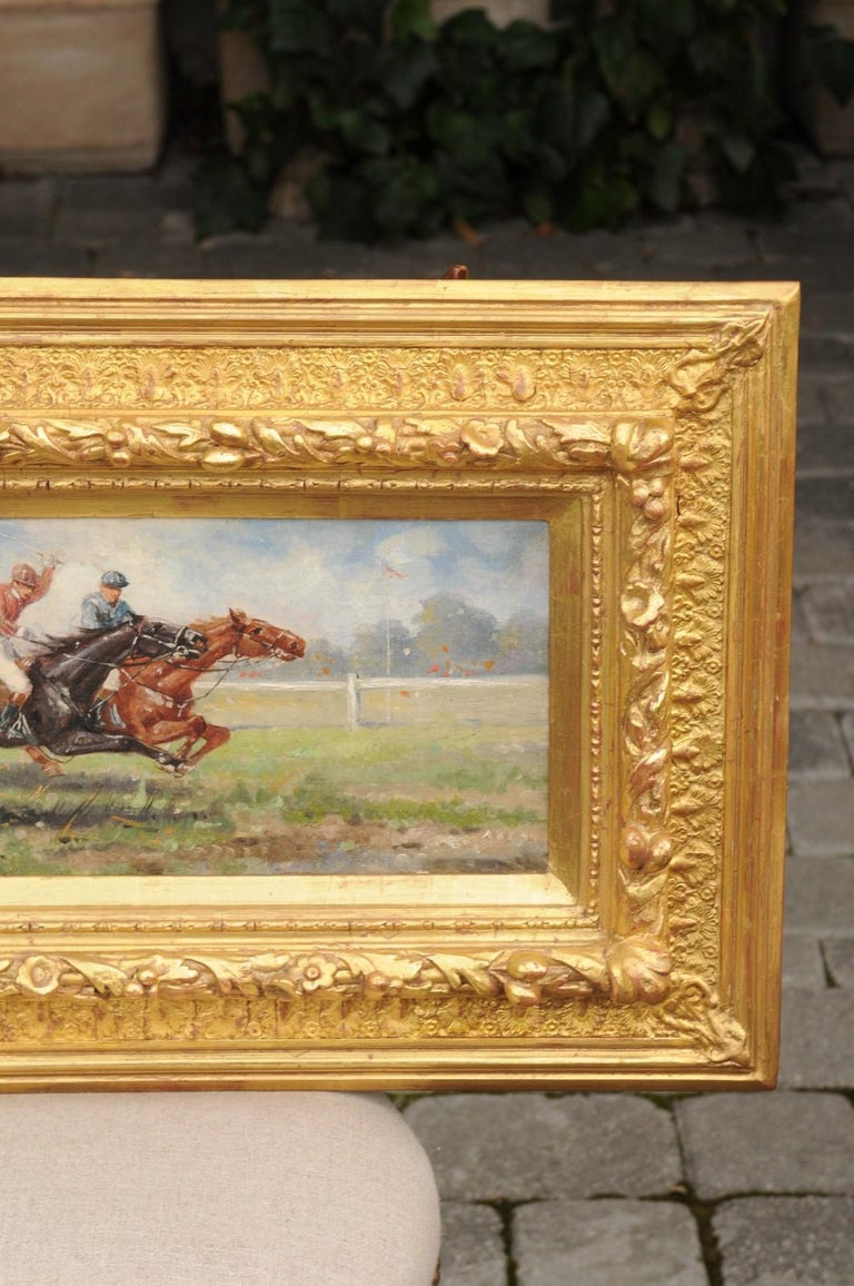 Pair of Late 19th Century American Oil Horse Racing Paintings in Giltwood Frames In Good Condition For Sale In Atlanta, GA