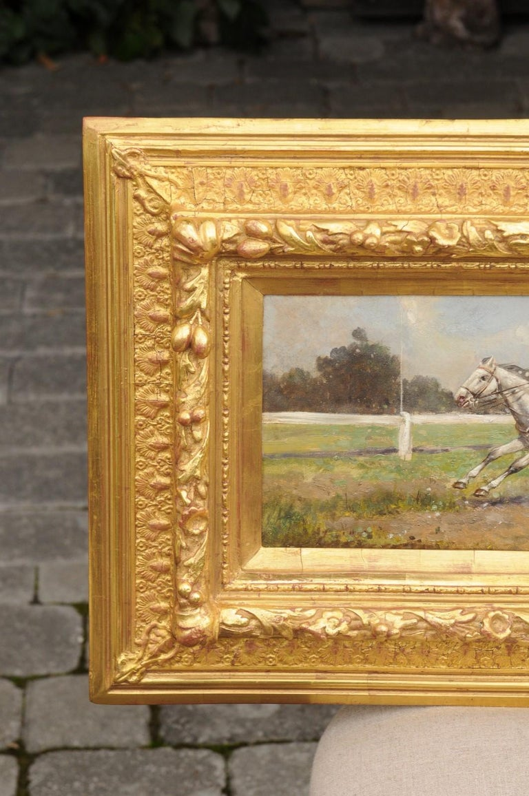 Pair of Late 19th Century American Oil Horse Racing Paintings in Giltwood Frames For Sale 1