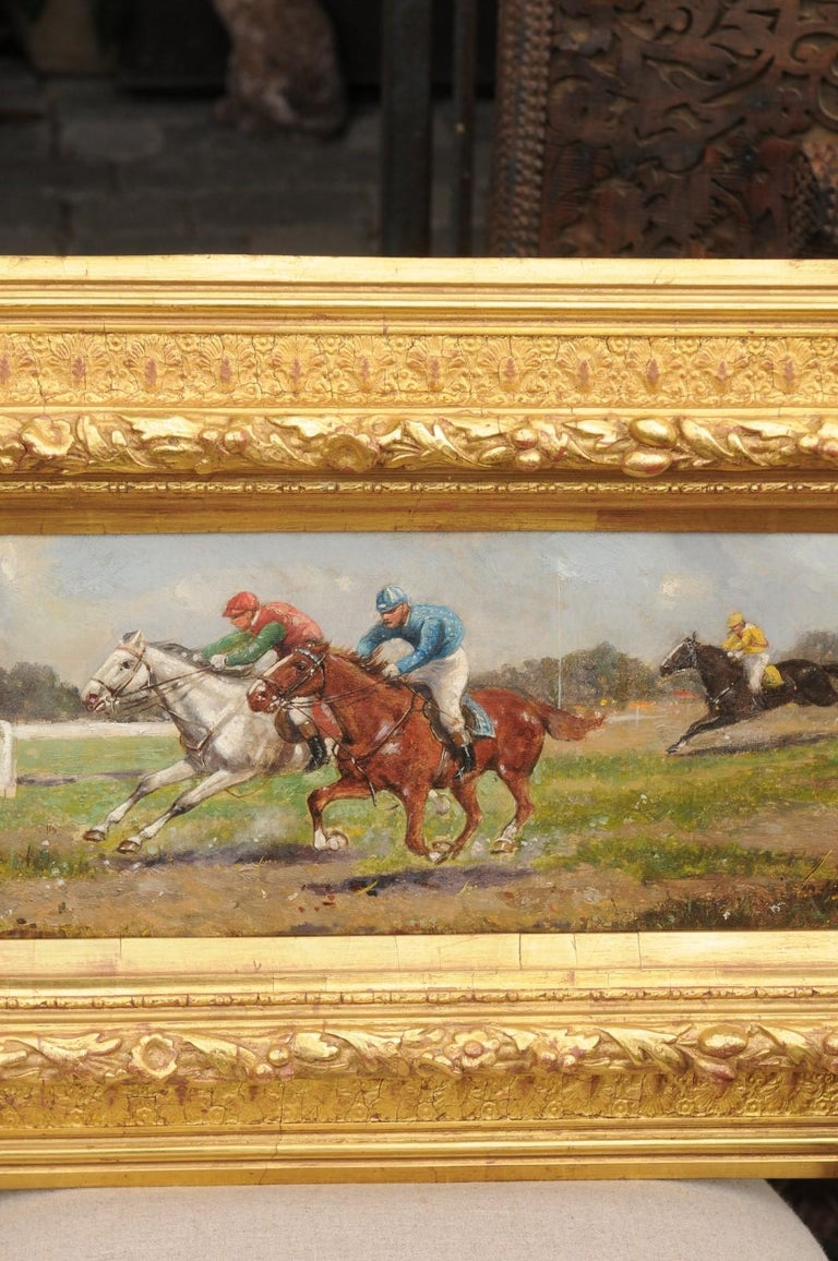 Pair of Late 19th Century American Oil Horse Racing Paintings in Giltwood Frames For Sale 2