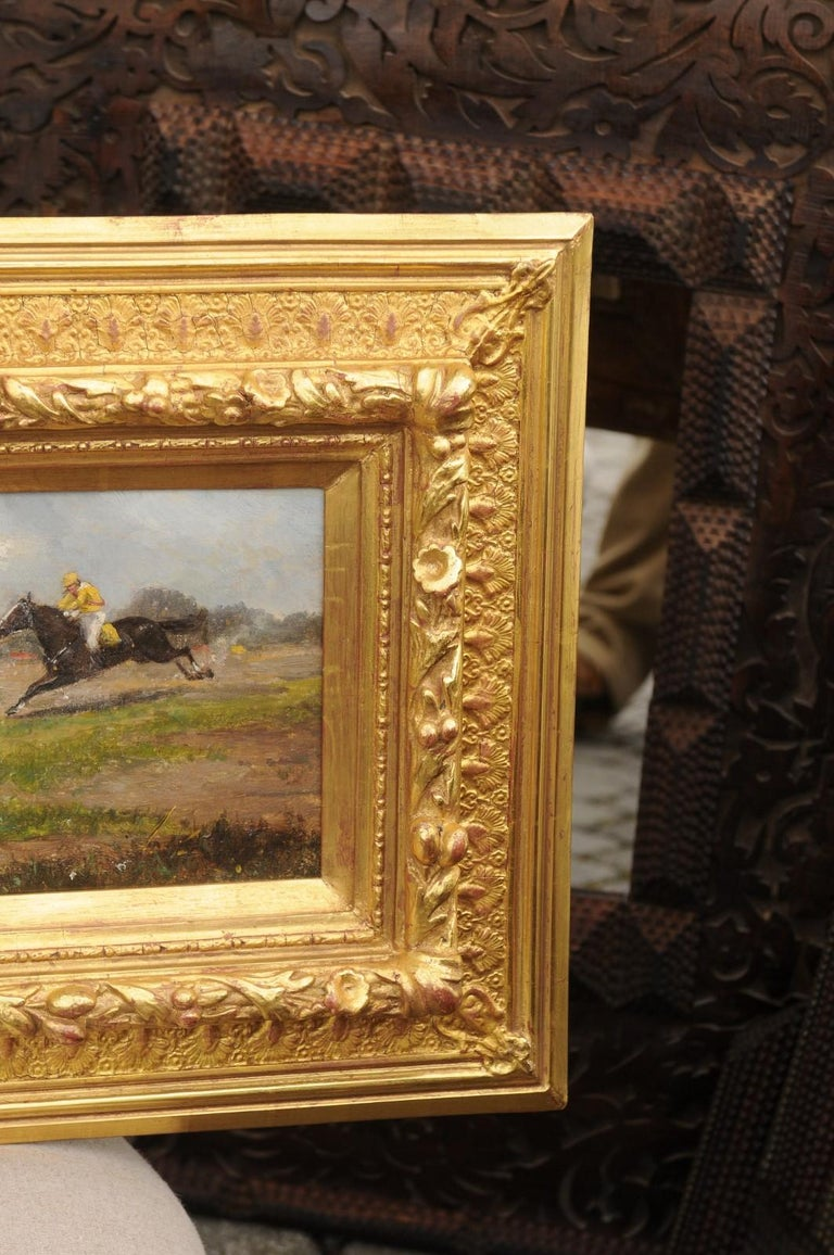 Pair of Late 19th Century American Oil Horse Racing Paintings in Giltwood Frames For Sale 3