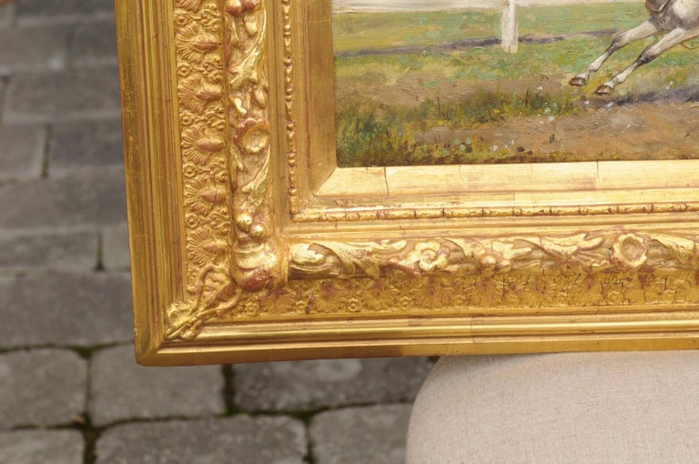 Pair of Late 19th Century American Oil Horse Racing Paintings in Giltwood Frames For Sale 5