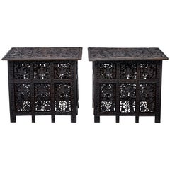 Pair of Late 19th Century Anglo-Indian Carved Tables