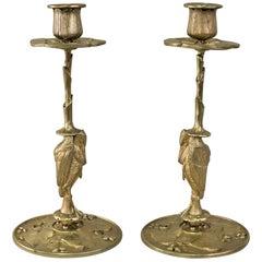 Pair of Late 19th Century Art Nouveau Bronze Candlestick