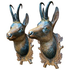 Pair of Late 19th Century Bavarian Carved Wood Chamois Deer on Decorated Shields