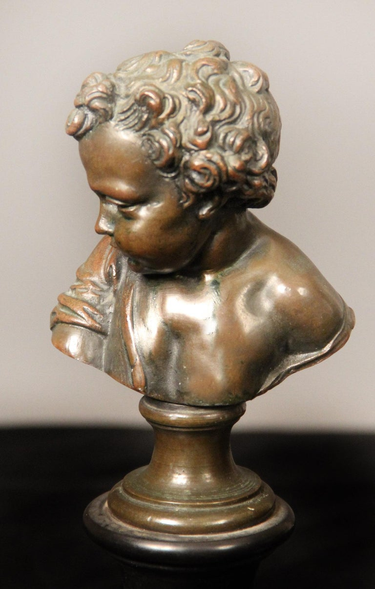 Belle Époque Pair of Late 19th Century Bronze Busts by A. Mahuex For Sale