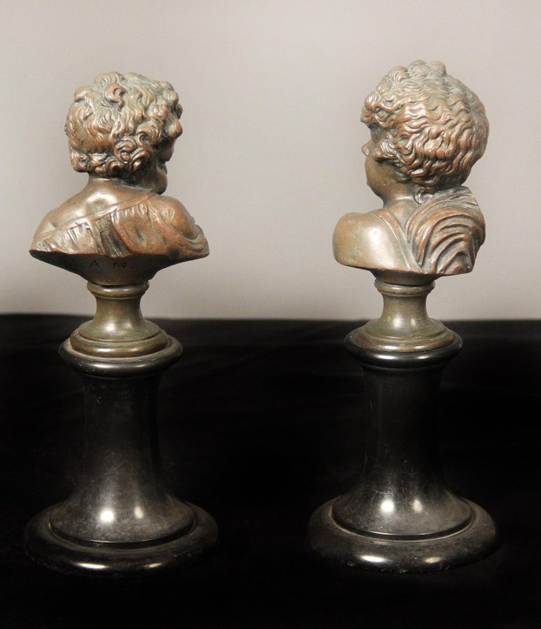 French Pair of Late 19th Century Bronze Busts by A. Mahuex For Sale