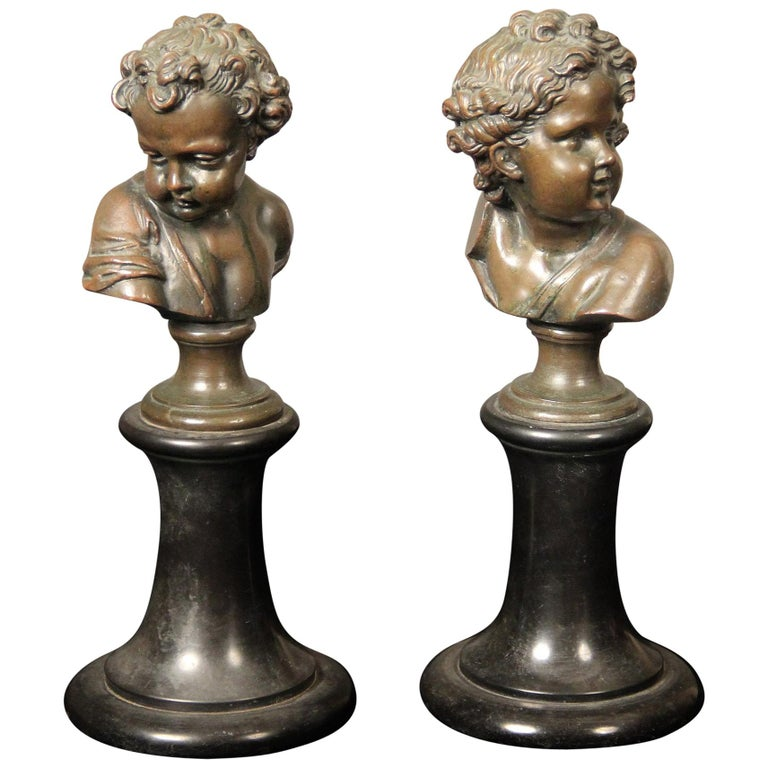 Pair of Late 19th Century Bronze Busts by A. Mahuex For Sale