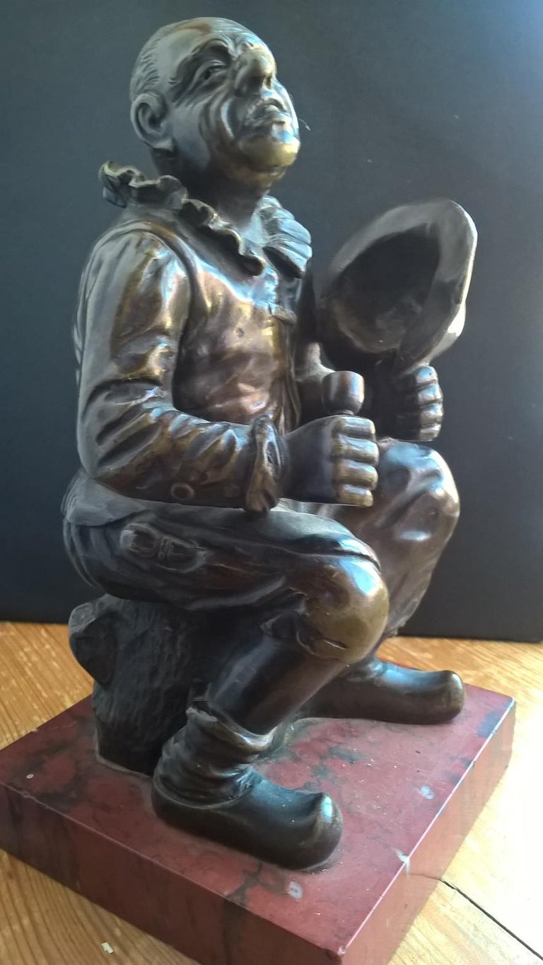 Pair of Late 19th Century Bronze Figures Each on a Rouge Marble Base For Sale 10