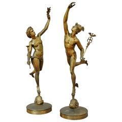 Pair of Late 19th Century Bronze Figures of Mercury and Fama