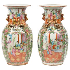 Pair of Late 19th Century Canton Chinese Urns in Famille Rose Style