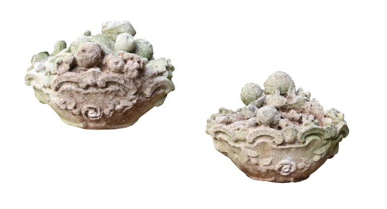 Pair of Late 19th Century Carved Limestone Baskets of Fruit Finials For Sale 1