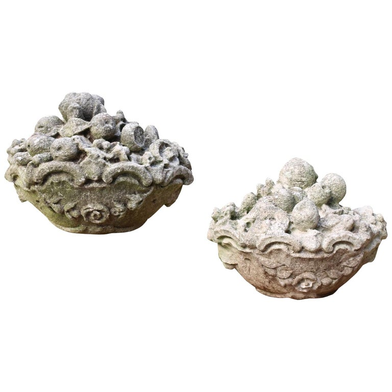 Pair of Late 19th Century Carved Limestone Baskets of Fruit Finials For Sale