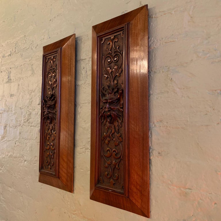 Gothic Revival Pair of Late 19th Century Carved Mahogany Gargoyle Panels For Sale