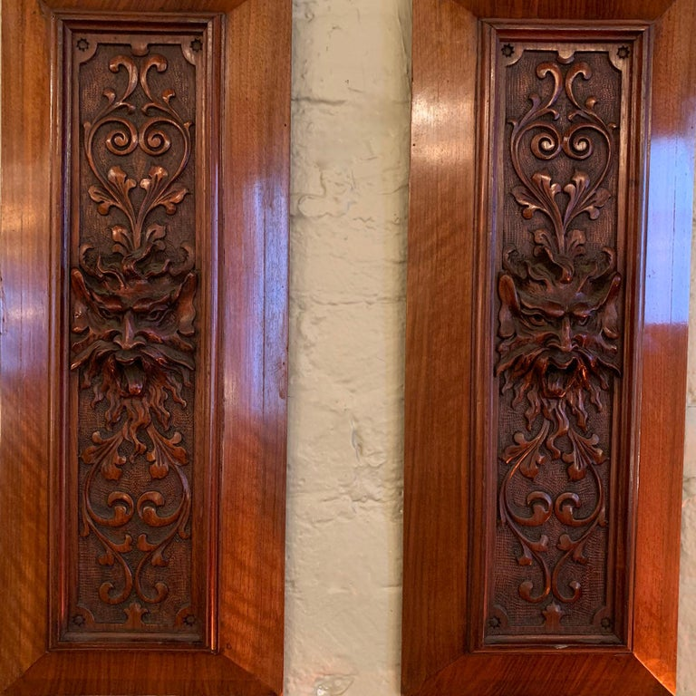 American Pair of Late 19th Century Carved Mahogany Gargoyle Panels For Sale