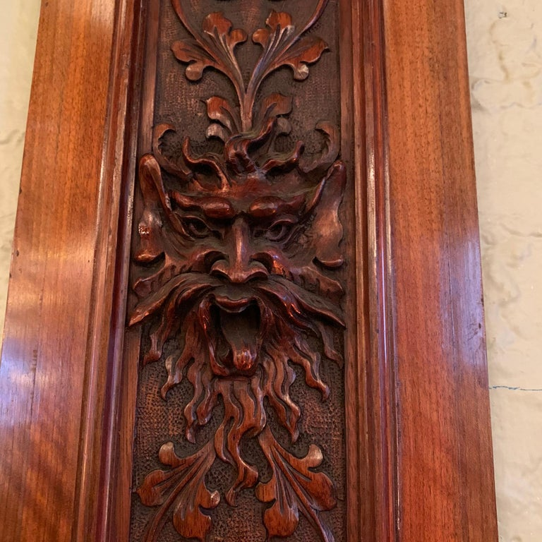 Pair of Late 19th Century Carved Mahogany Gargoyle Panels In Good Condition For Sale In Brooklyn, NY