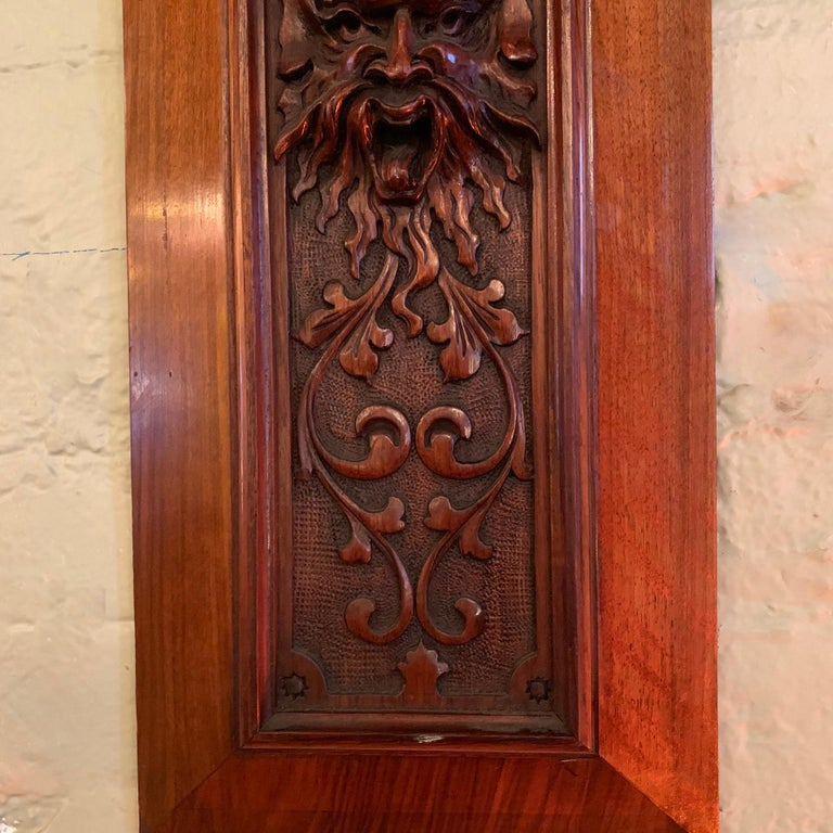 Pair of Late 19th Century Carved Mahogany Gargoyle Panels For Sale 1