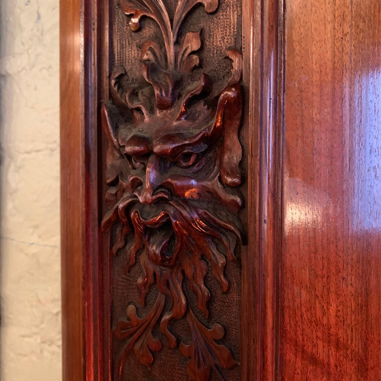 Pair of Late 19th Century Carved Mahogany Gargoyle Panels For Sale 3