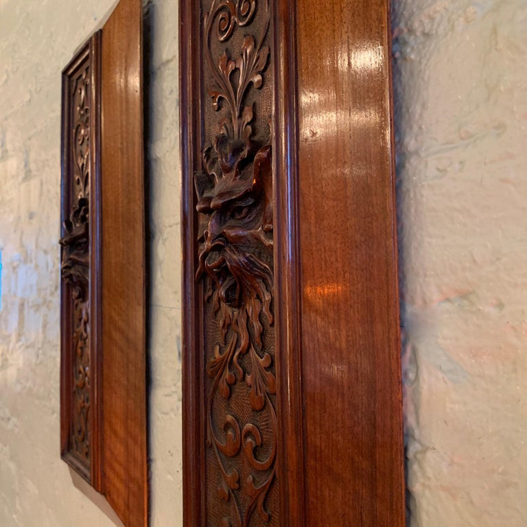 Pair of Late 19th Century Carved Mahogany Gargoyle Panels For Sale 2