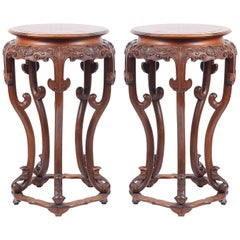 Pair of Late 19th Century Chinese Burr Wood Stands or Side Tables