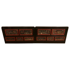 Pair of Late 19th Century Chinese Carved Panels/ Twin Headboards