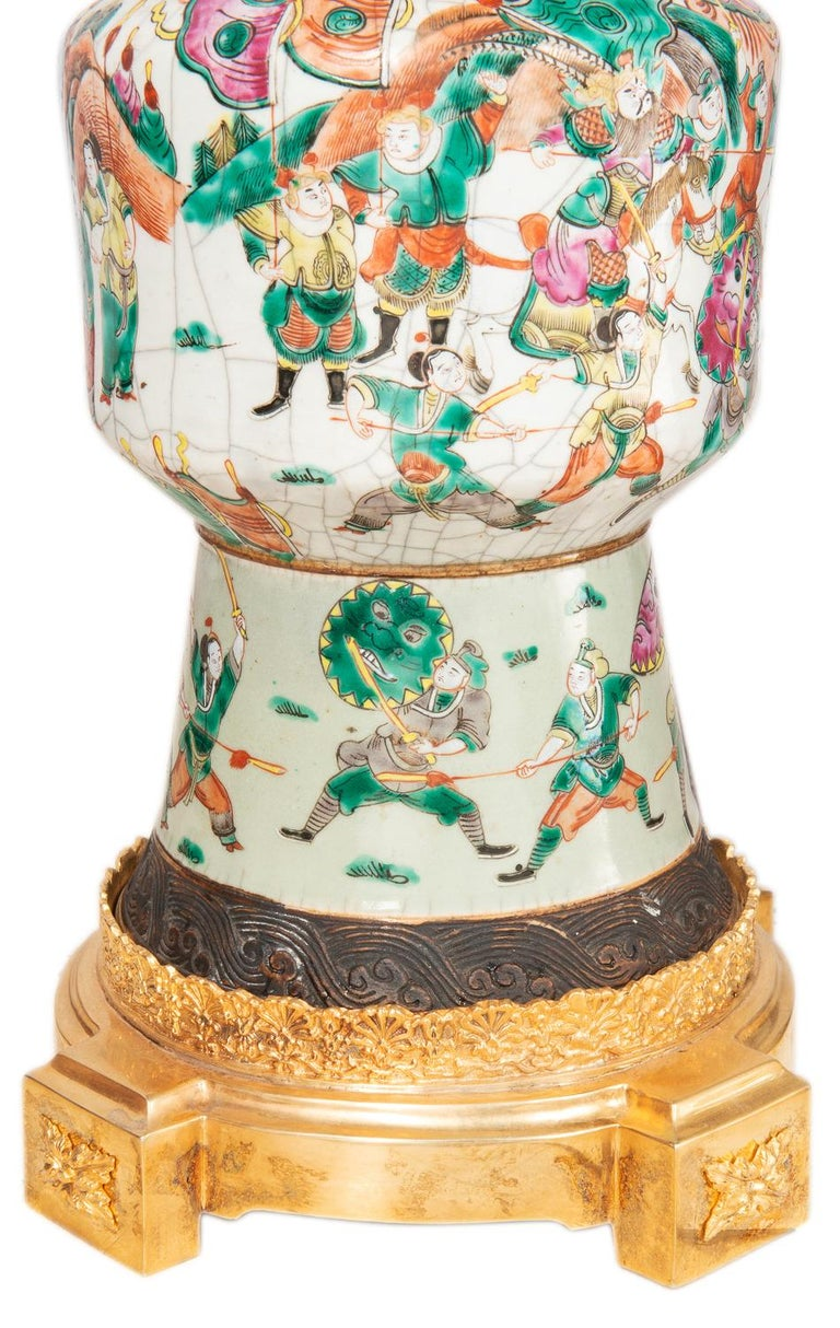 Pair of Late 19th Century Chinese Crackle-Ware Vases / Lamps For Sale 6