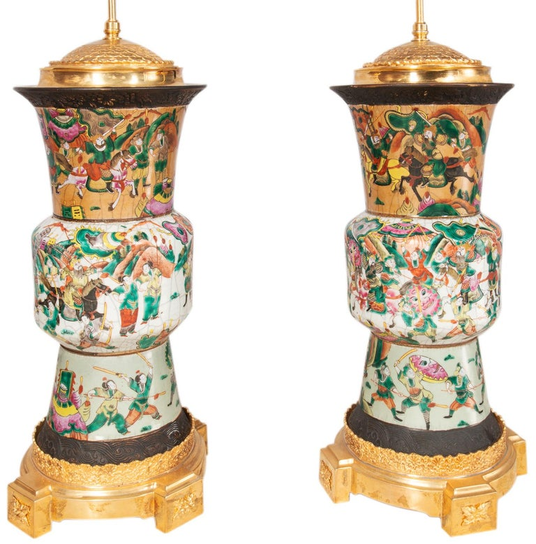 Chinese Export Pair of Late 19th Century Chinese Crackle-Ware Vases / Lamps For Sale