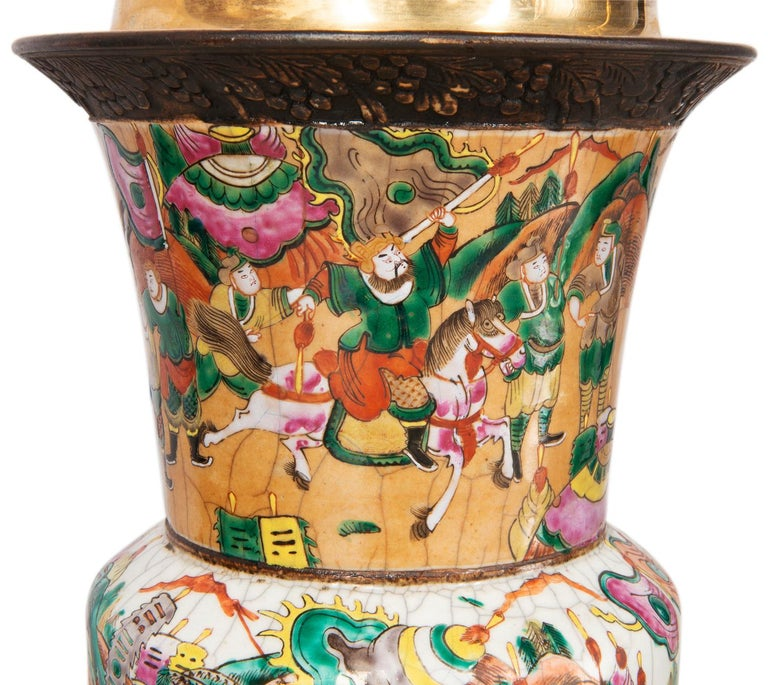 Hand-Painted Pair of Late 19th Century Chinese Crackle-Ware Vases / Lamps For Sale