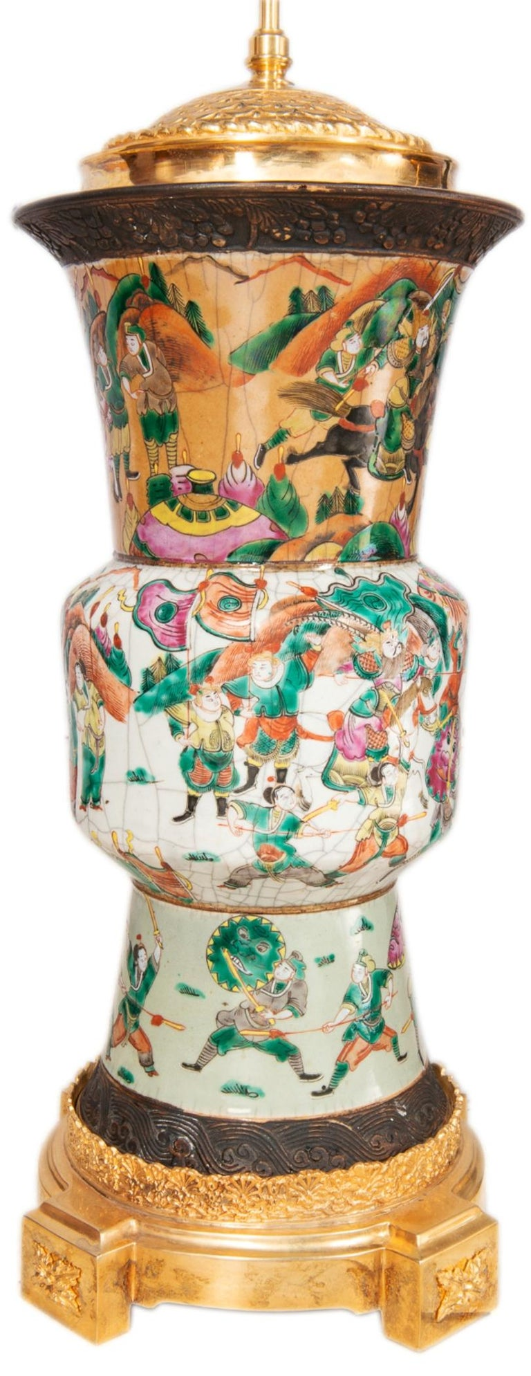 Porcelain Pair of Late 19th Century Chinese Crackle-Ware Vases / Lamps For Sale