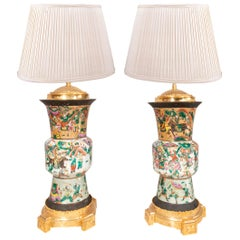 Pair of Late 19th Century Chinese Crackle-Ware Vases / Lamps