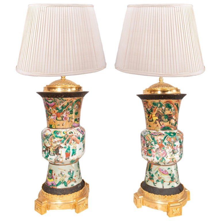 Pair of Late 19th Century Chinese Crackle-Ware Vases / Lamps For Sale