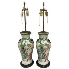 Pair of Late 19th Century Chinese Hand Painted Porcelain Urn Style Lamps