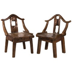 Pair of Late 19th Century Chinese Yoke Back Root Chairs