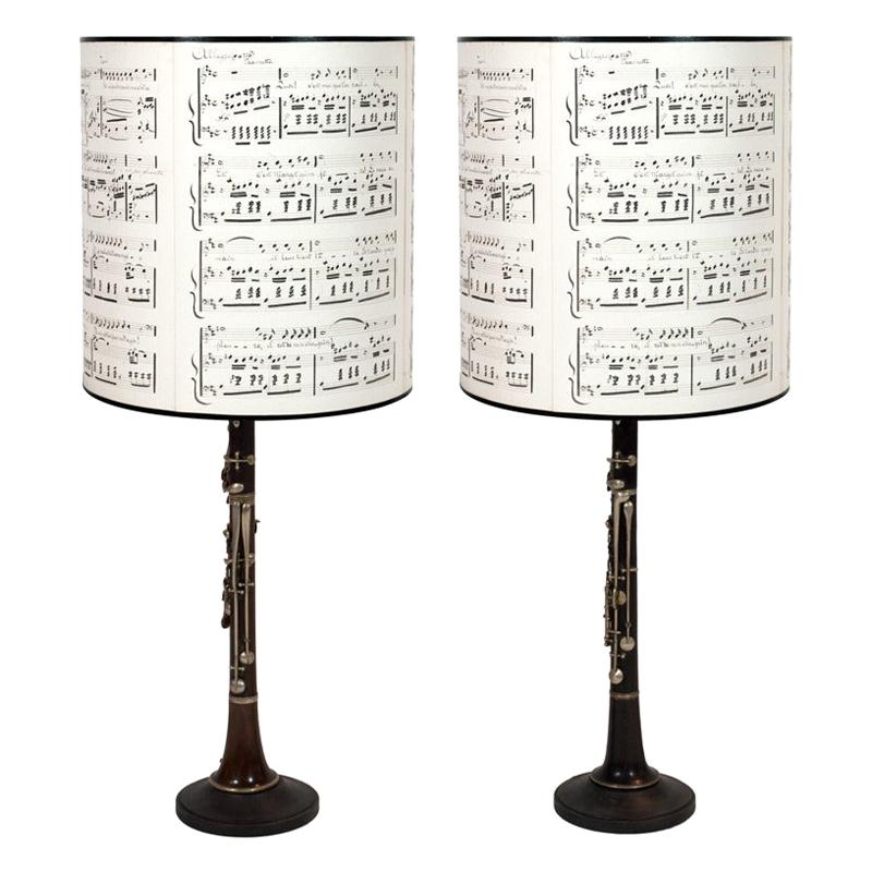 Pair of Late 19th Century Clarinets Mounted as Table Lamps