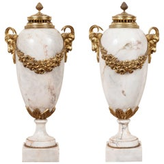 Pair of Late 19th Century Cream and Blush Marble Urns