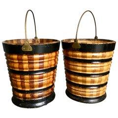 Pair of Late 19th Century Dutch Fruitwood Ebonized Peat Buckets Brass Handles