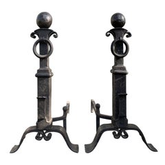 Pair of Late 19th-Early 20th Century Iron Andirons